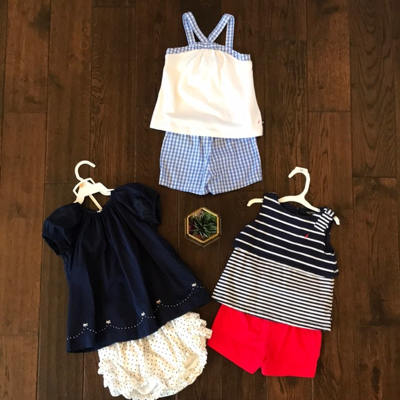Nautica Baby Girls Top//Diaper Set